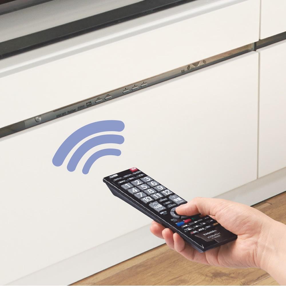 ホワイト光沢仕上げテレビ台シリーズ テレビ台 幅150高さ39cm 扉を閉めたままリモコンが使えます。