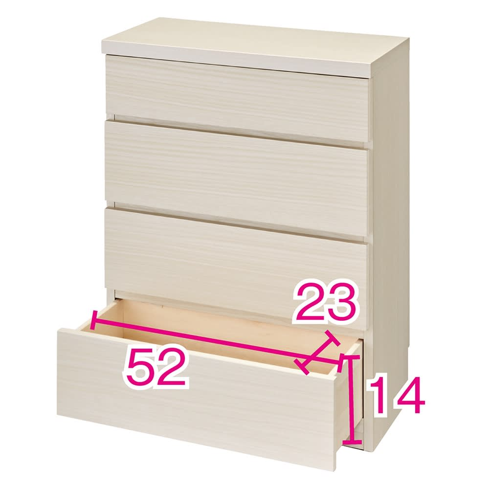 ベッドから見やすいテレビボードシリーズ 薄型サイドチェスト 4段・高さ79cm (イ)ホワイト木目 ※赤文字は有効内寸(単位:cm) ※写真は幅60cmタイプです。
