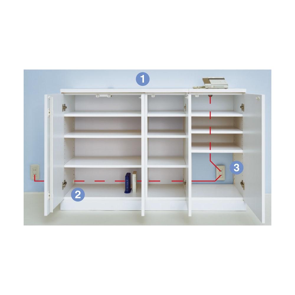 【日本製】窓下にぴったり収まる 高さサイズオーダー壁面収納 扉幅120奥行25cm (1)天板奥には、コードが通せるカキコミがあります(引き出し除く)(2)側板に配線コード穴があり、配線もすっきり(3)幅オーダータイプ・コーナータイプは背板がないのでコンセントをふさぎません。
