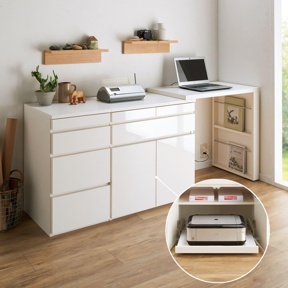 伸長式デスク&キャビネット専用プリンタースライドテーブル スライドテーブルを扉内に設置してプリンター台に。