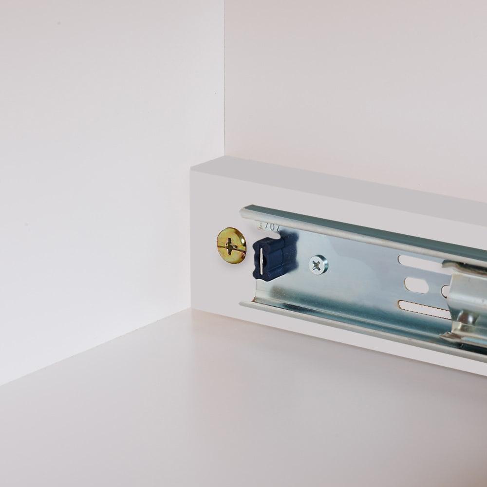 伸長式デスク&キャビネット専用プリンタースライドテーブル 本体にネジで留めるだけで簡単に設置できます