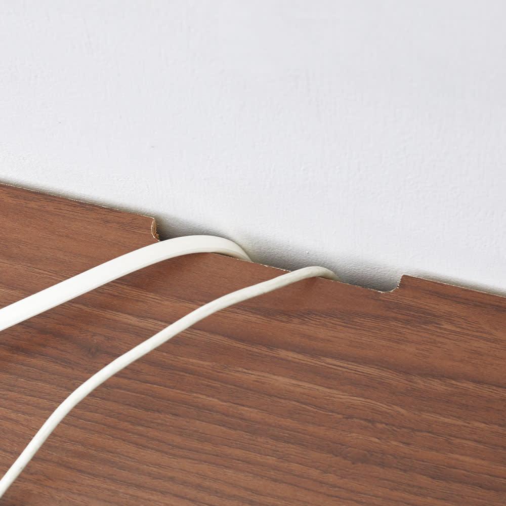 奥行4タイプ選べるデスクシリーズ デスク奥行70cm 天板奥のかきこみを通して配線すっきり。