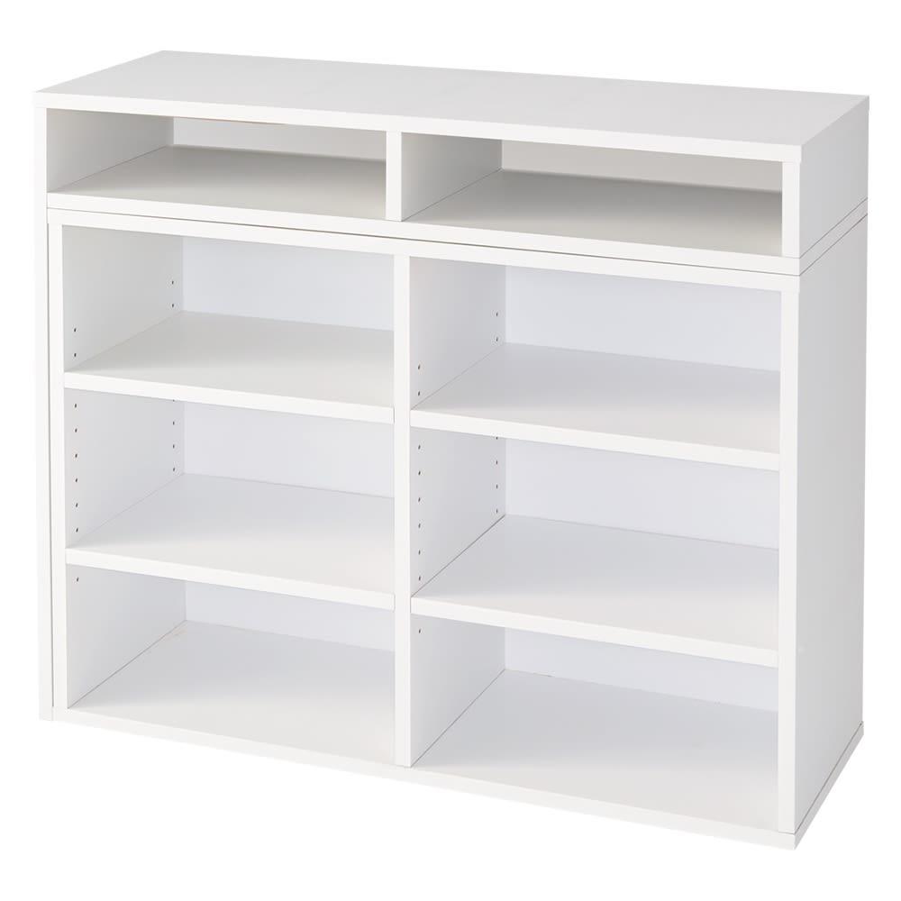 本棚付き無段階スライドデスク オープンタイプ (イ)ホワイト(幅最小時)