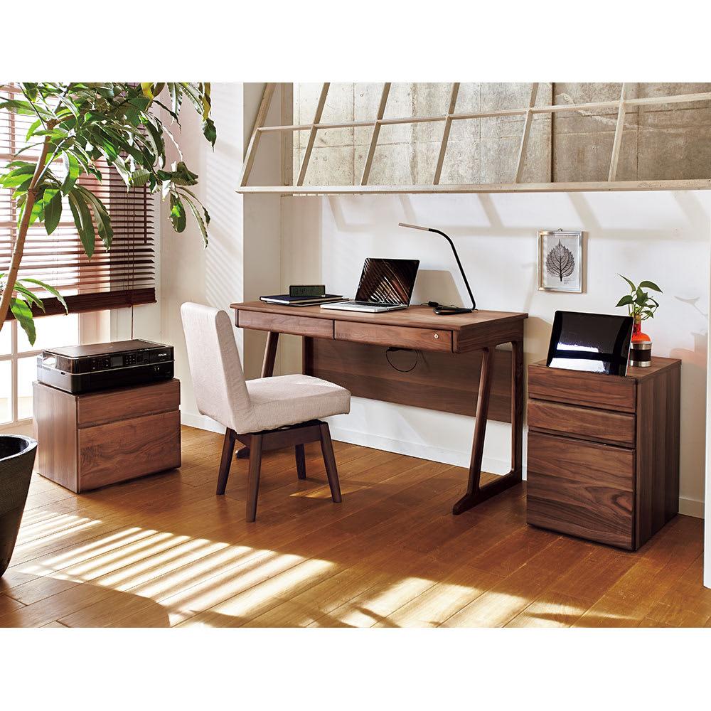 ウォルナットコンパクトデスク プリンターカート ウォルナット天然木がお部屋に高級感を。※お届けはプリンターカートです。