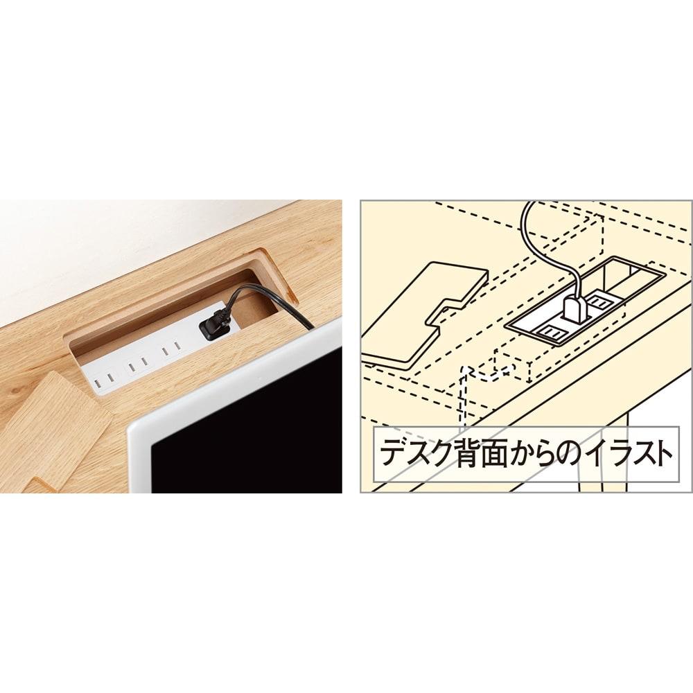 北欧カントリー風 ウッドPCデスクシリーズ デスク・幅180cm デスク天板奥の内側には、電源タップも入るコード収納スペース付き。配線を隠すことができ、フタ付きで見た目もすっきり。