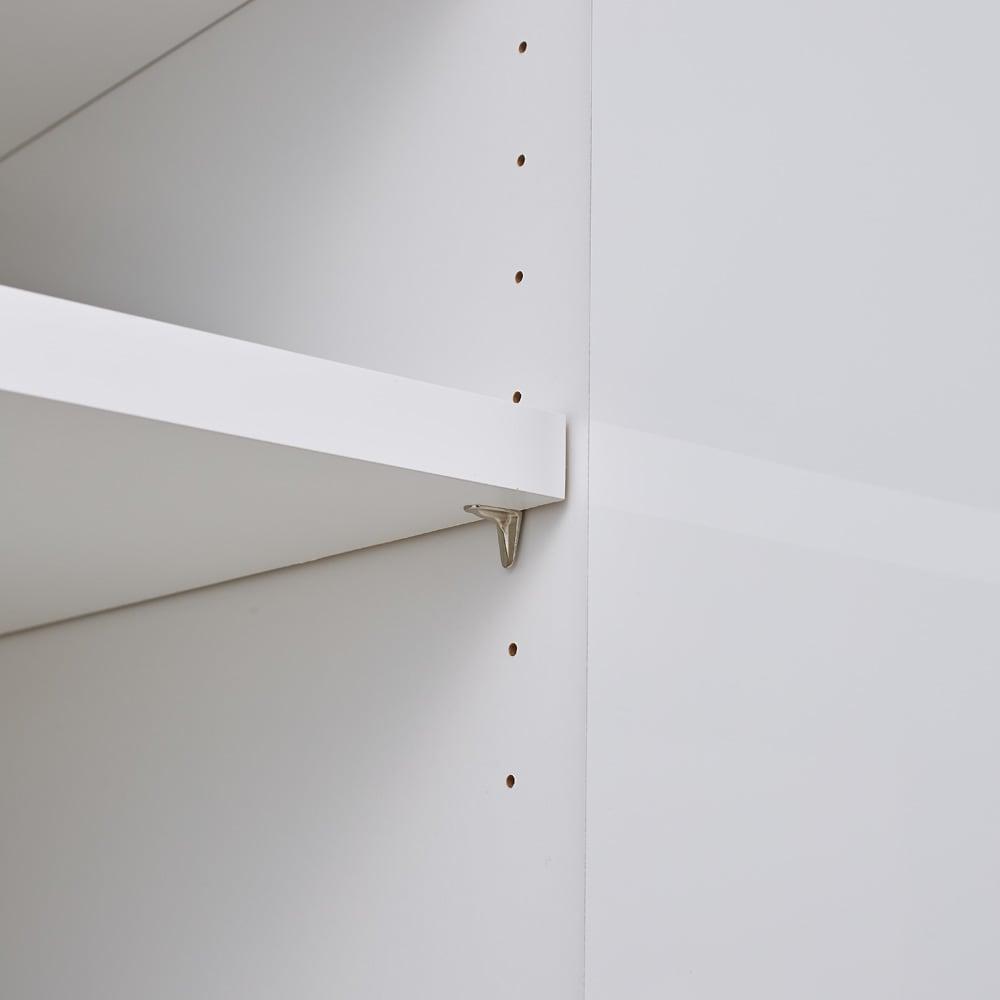 配線すっきり幅オーダーデスク キャビネット 幅60~150cm(1cm単位オーダー) 内部は3cm間隔で調整できる可動棚板付きで、収納物に合わせて調整できます。