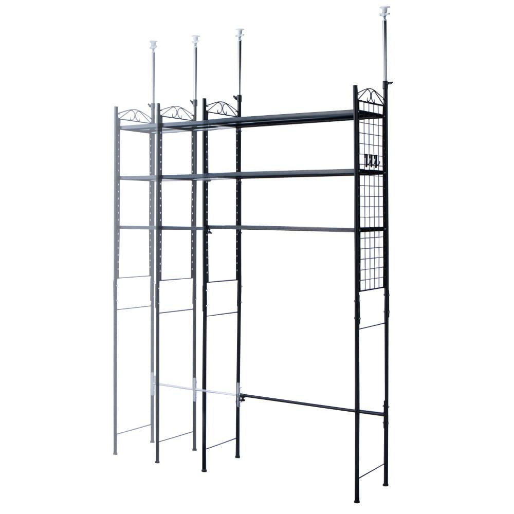 壁面を有効活用できる 幅伸縮 頑丈ラック 突っ張り3段 (ア)ブラック 幅は棚板をスライドさせて、98~160cmの間で設定できます。