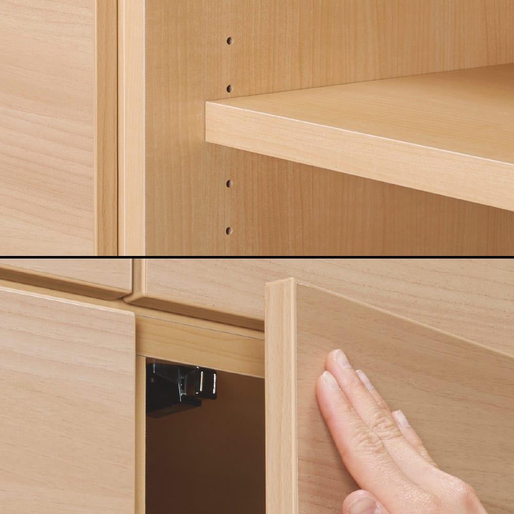 奥行34cm薄型なのに収納すっきり!スマート壁面収納シリーズ テレビ台 ハイタイプ 幅90cm 写真上:可動棚板は3cm間隔で調節できるので、収納物に合わせて細かく移動できます。写真下:扉は、軽く押すだけで開閉できるプッシュラッチ式を採用。