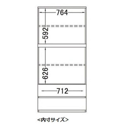 【パモウナ社製】毎日の使いやすさを考えた壁面収納システム 棚&引き出し収納庫 幅80cm 詳細図(正面)