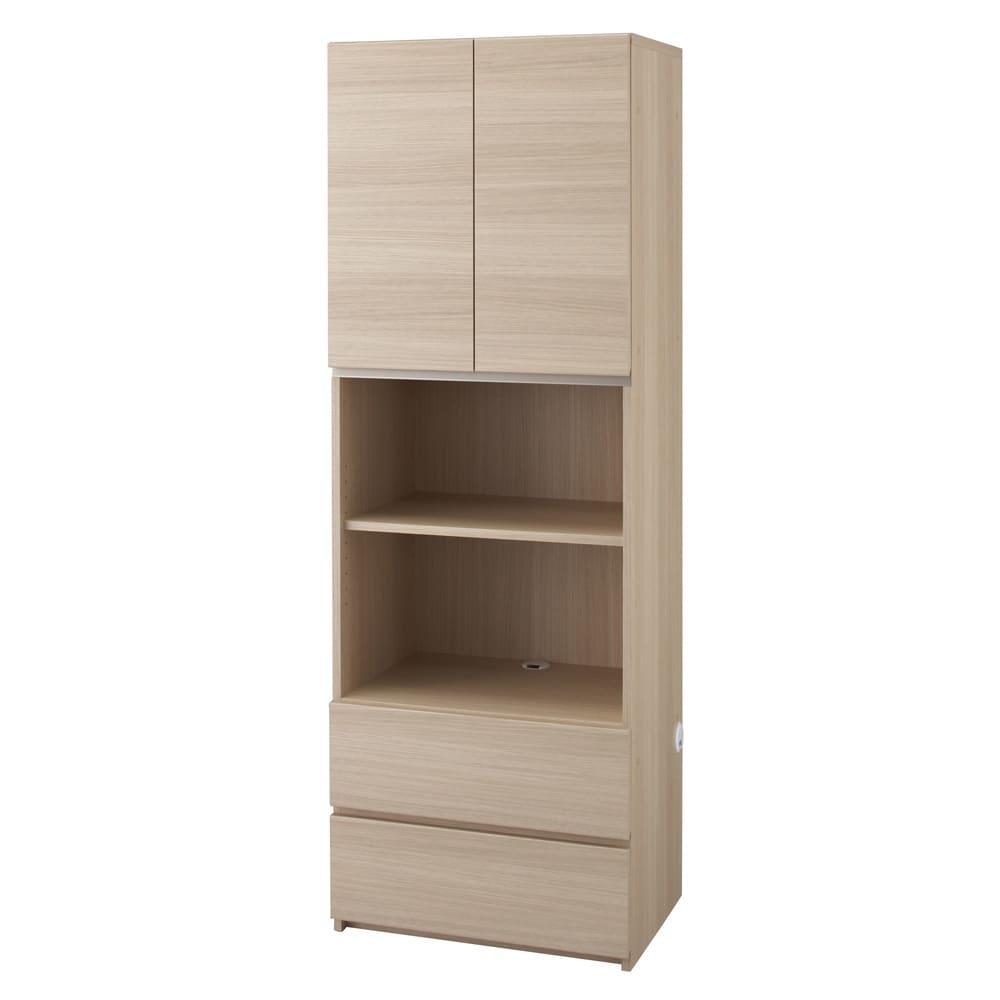 【パモウナ社製】毎日の使いやすさを考えた収納システム 扉+オープン収納タイプ 幅60cm (イ)ナチュラル