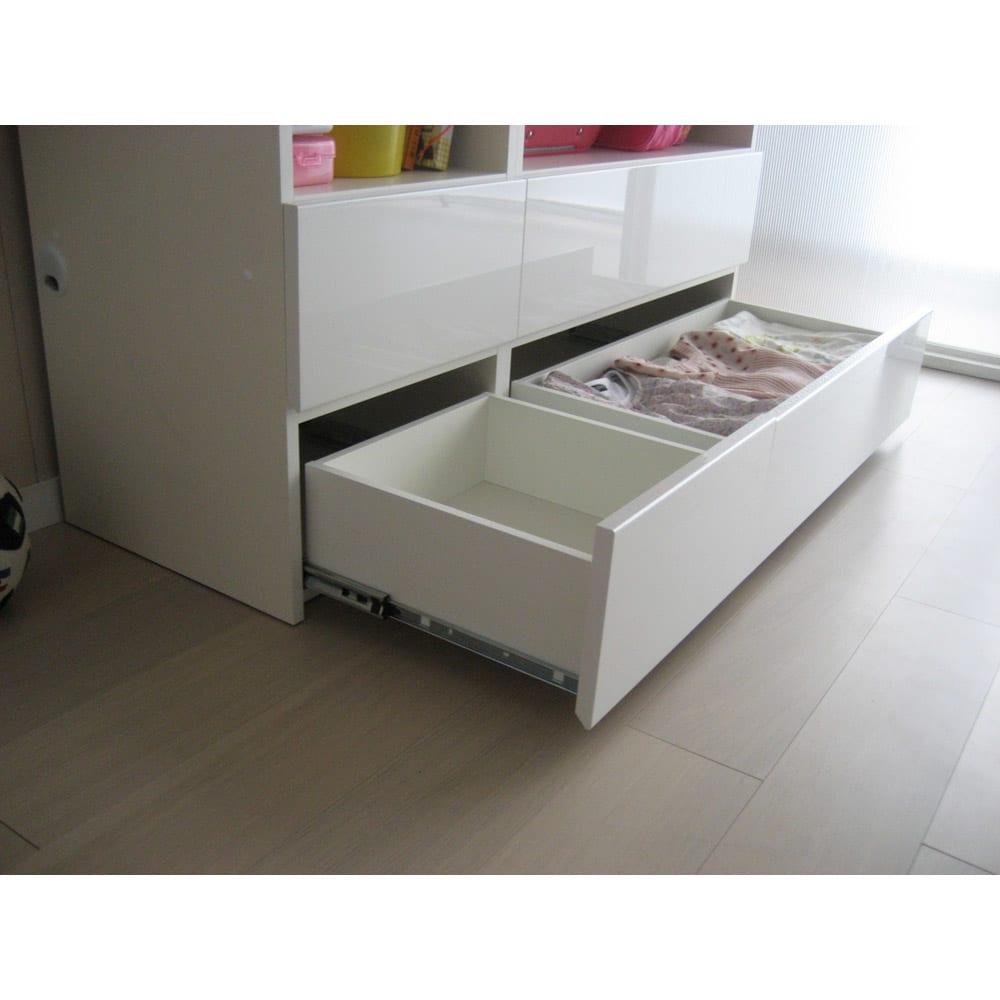 【パモウナ社製】毎日の使いやすさを考えた収納システム 扉オープン収納タイプ 幅80cm 引き出しは全てフルスライドレールを採用