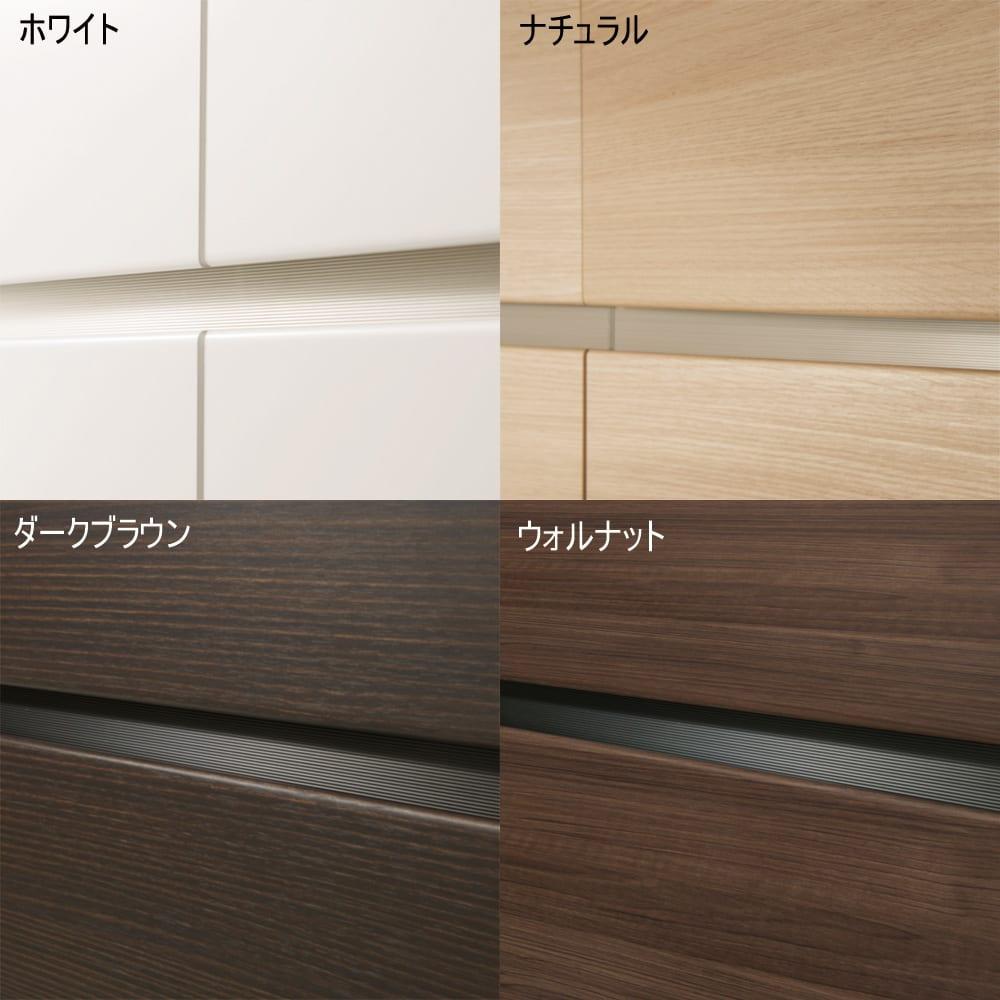 毎日の使いやすさを考えた収納システム テレビ台ロータイプ 幅160cm (ア)ホワイトの表層に傷や汚れに強く、美しい輝きと透明感が持続するEBコートを採用。(イ)ナチュラル(ウ)ウォルナットの表面材にはオルフィン化粧合板を使用。