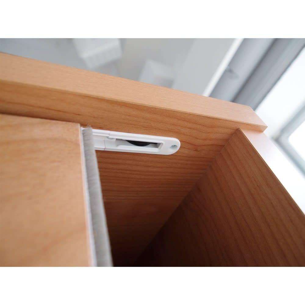 組立不要 アルダー引き戸頑丈本棚 幅75.5cm ロータイプ 引き戸上部様子。