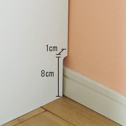 A4サイズがぴったり収まる高さサイズオーダー対応壁面収納ラック 奥行29.5cmタイプ 幅80本体高さ207~259cm(対応天井高さ208~260cm) 幅木よけカット(高さ8cm奥行1cm)で壁にぴったり設置可能。コードも通せます。