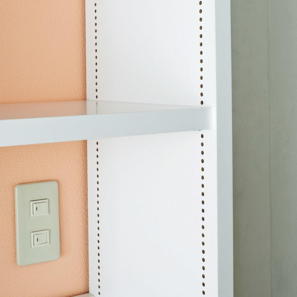 A4サイズがぴったり収まる高さサイズオーダー対応壁面収納ラック 奥行29.5cmタイプ 幅80本体高さ207~259cm(対応天井高さ208~260cm) 可動棚は収納物にあわせて1cmピッチで調節可能。