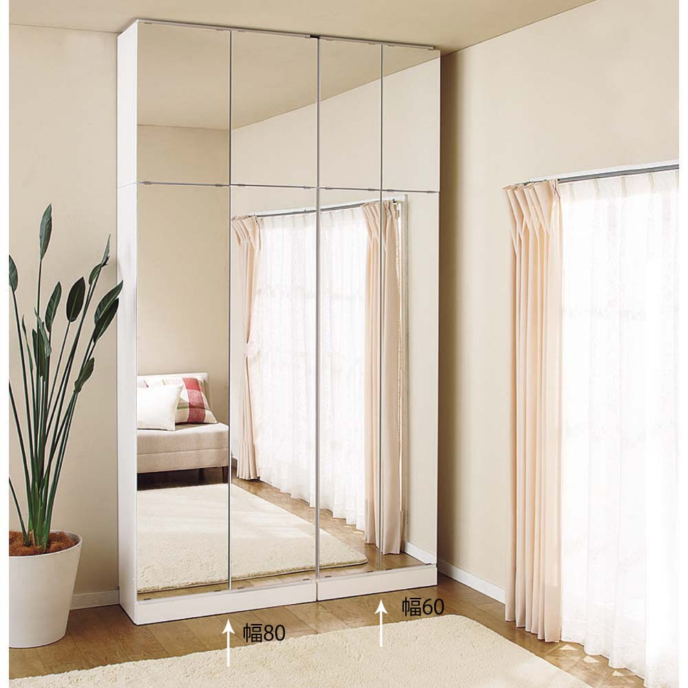工夫満載!壁面書棚(本棚)リフォームユニット 幅60奥行31高さ180cm ≪組合せ例≫ ※写真は、本体と上置きの組合せです。(左)幅80cm、(右)幅60cmタイプです。部屋を広く見せる効果も!