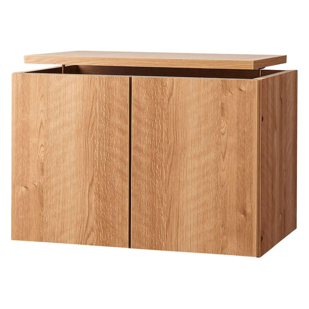 高さサイズオーダー 工夫満載!壁面書棚(本棚)リフォームユニット 上置き奥行44cm 幅60cm高さ26~90cm (オ)前面:ブラウン・本体:ブラウン※写真は幅60cmの商品です。
