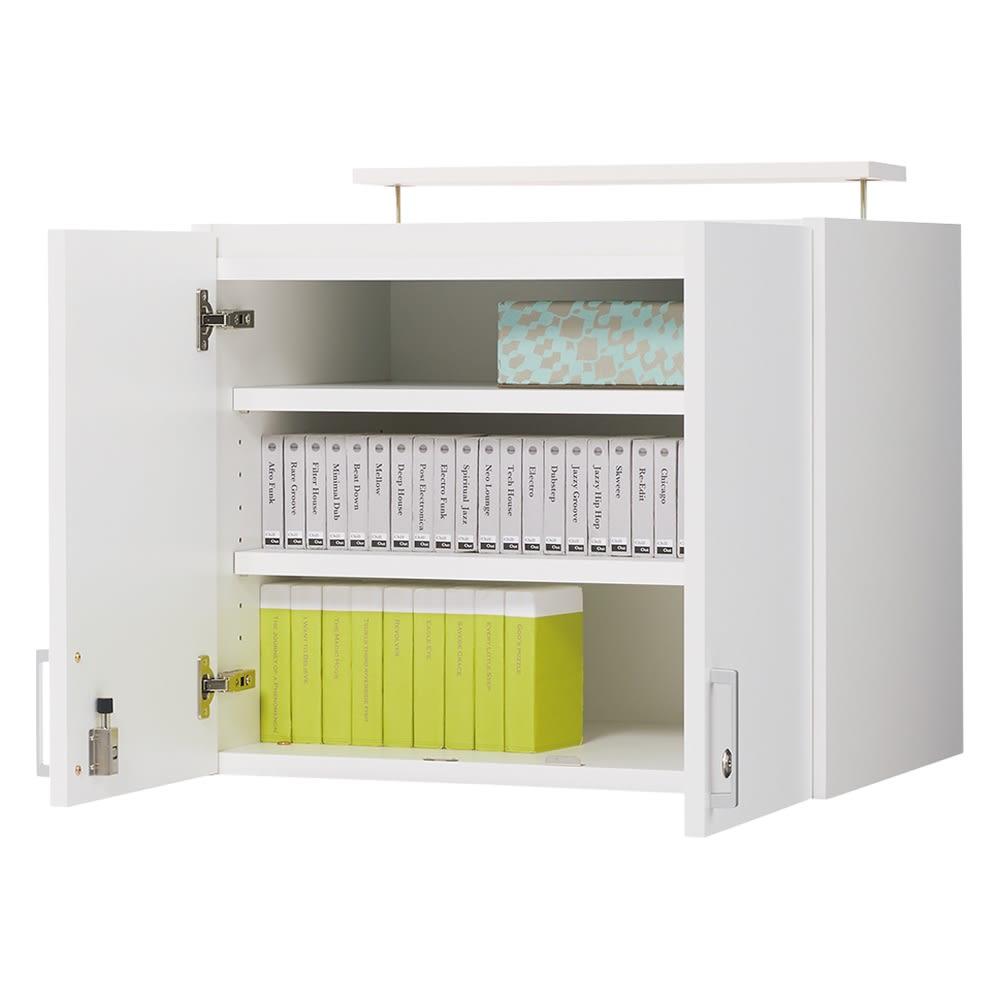 鍵付き本棚 高さオーダー対応上置き 幅60cm奥行45cm高さ30~80cm(高さ1cm単位オーダー) 扉オープン:(ア)ホワイト 棚板は3cm間隔で調整できます。 ※写真は商品高さ58cmです。