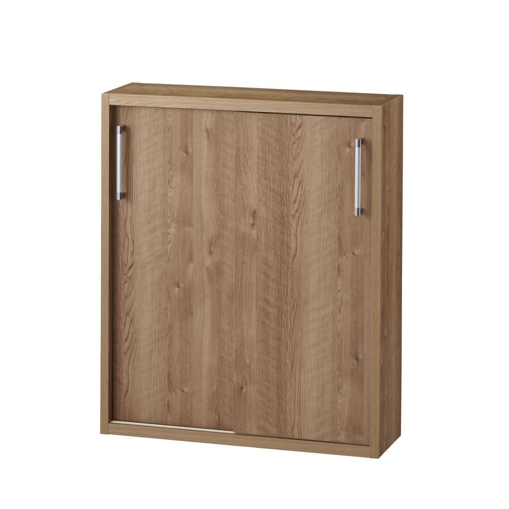 省スペースで大量収納!天然木調引き戸本棚 ロータイプ 高さ90幅78奥行25cm (ア)ブラウン