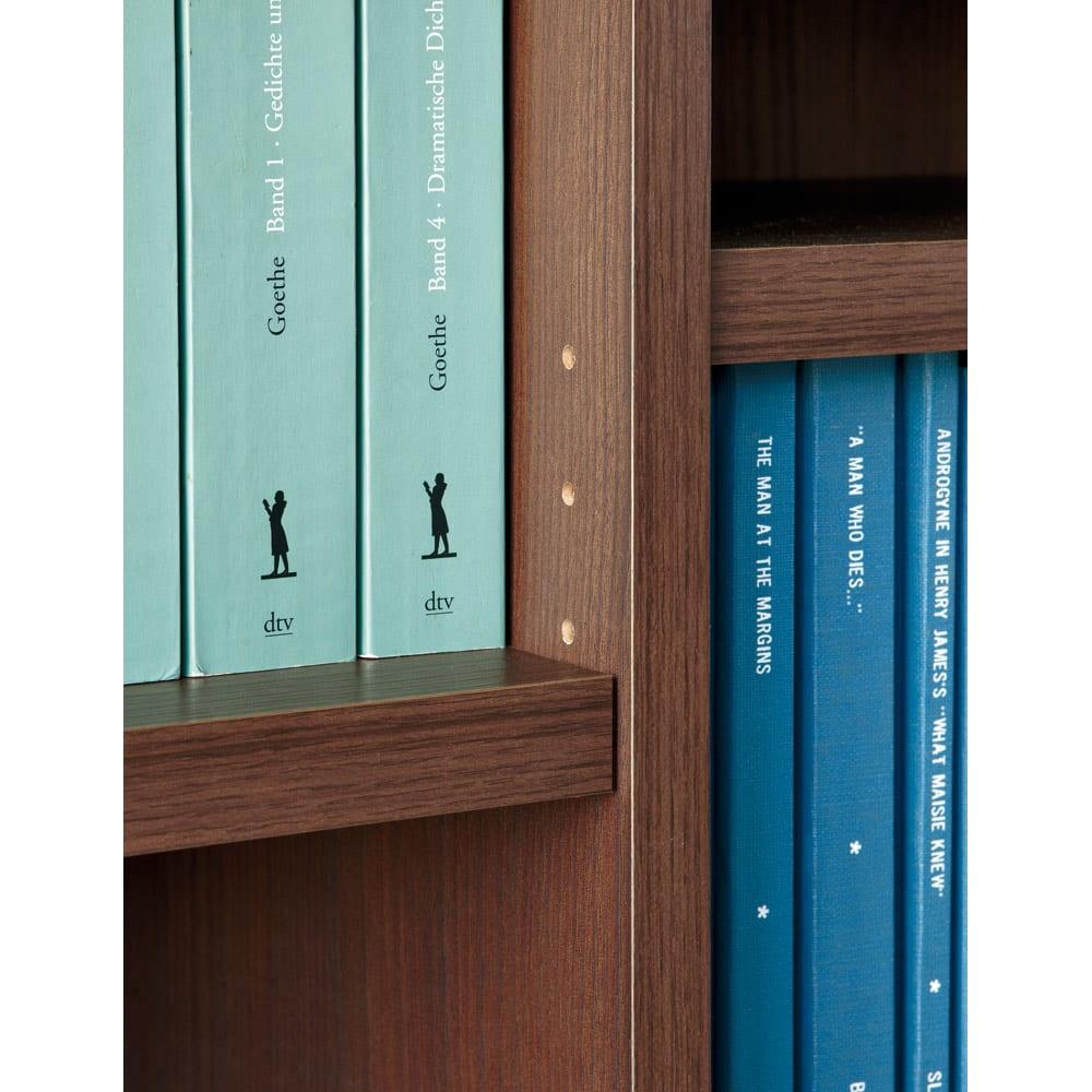 頑丈棚板引き戸本棚 奥行31.5cm(幅75.5/幅89.5cm) 【壁面収納】 棚板はLVLを使用し、厚さも2.5cmの頑丈さ。