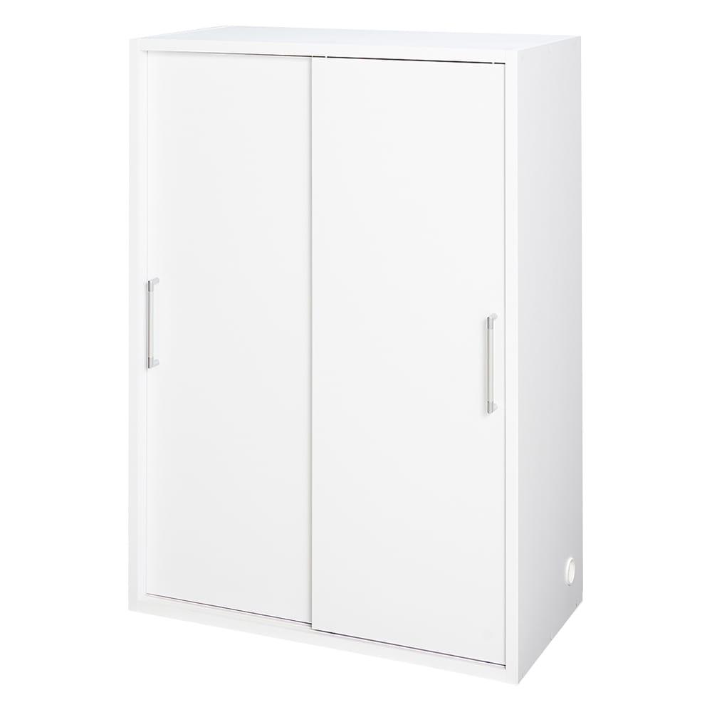 掃除機もしまえる引き戸本棚 ミドルタイプ(幅90高さ125cm) 商品イメージ:(ア)ホワイト