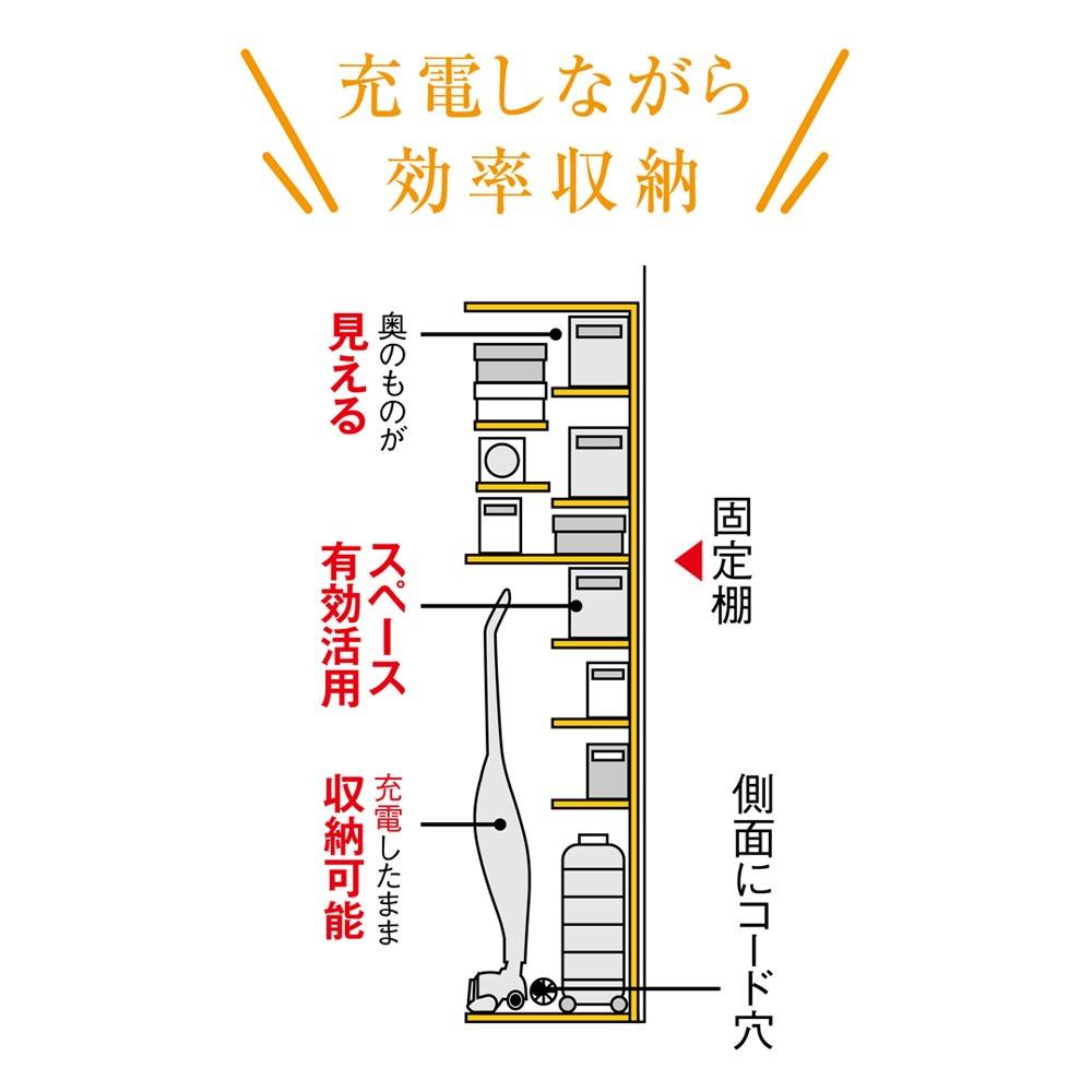 掃除機もしまえる引き戸本棚 ミドルタイプ(幅90高さ125cm) 【見せたくない家電もおまかせ】固定棚が床上約120cmと高めの設計で、側板にコード穴もあるので、出しっぱなしになりがちな充電式の掃除機も配線したまま収納可能。※画像はハイタイプのイラストになります。