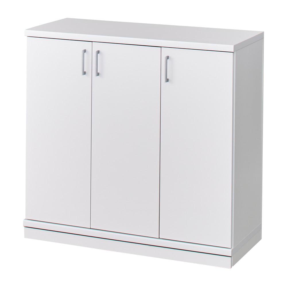 隠しキャスター付き前後段違い光沢本棚 扉タイプ 幅59cm (ア)ホワイト ※写真は幅88cmタイプです。