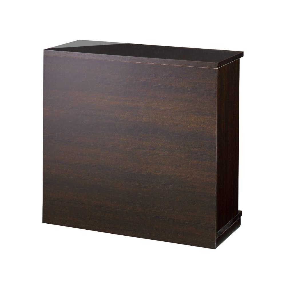 隠しキャスター付き前後段違い光沢本棚 引き戸タイプ 幅88cm (イ)ダークブラウン(背面) 背板は光沢の無い仕様です。