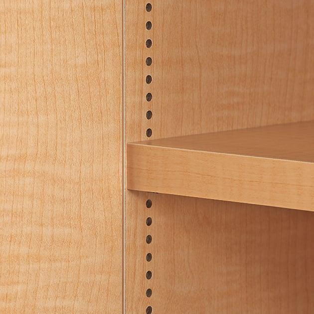 日用品もしまえる頑丈段違い書棚上置き(幅80cm) 棚板は1cmピッチの可動式。