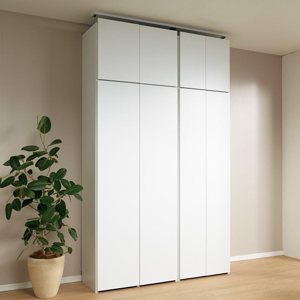 日用品もしまえる頑丈段違い書棚上置き(幅80cm) ≪扉CLOSE≫使用イメージ(ア)ホワイト ※上置きのみのお届けです。