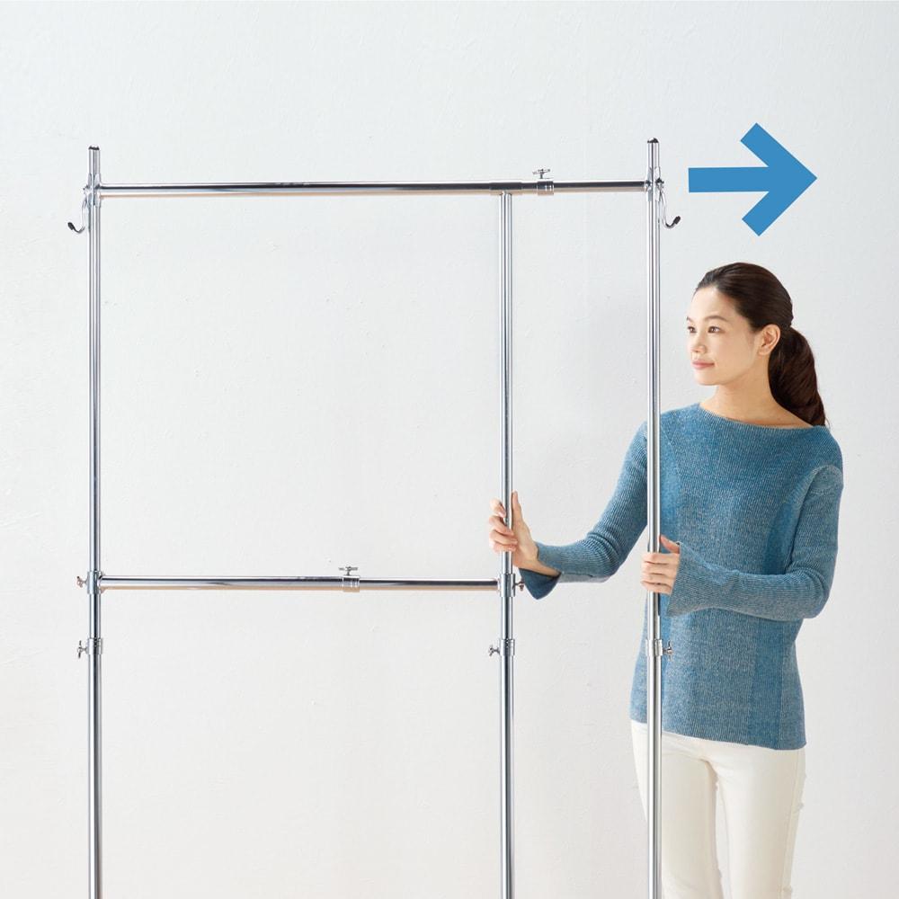 幅と高さが変えられるプロ仕様頑丈ハンガー 上下2段掛け付き ダブルタイプ・幅70~92cm 幅を広げて、たっぷり収納。