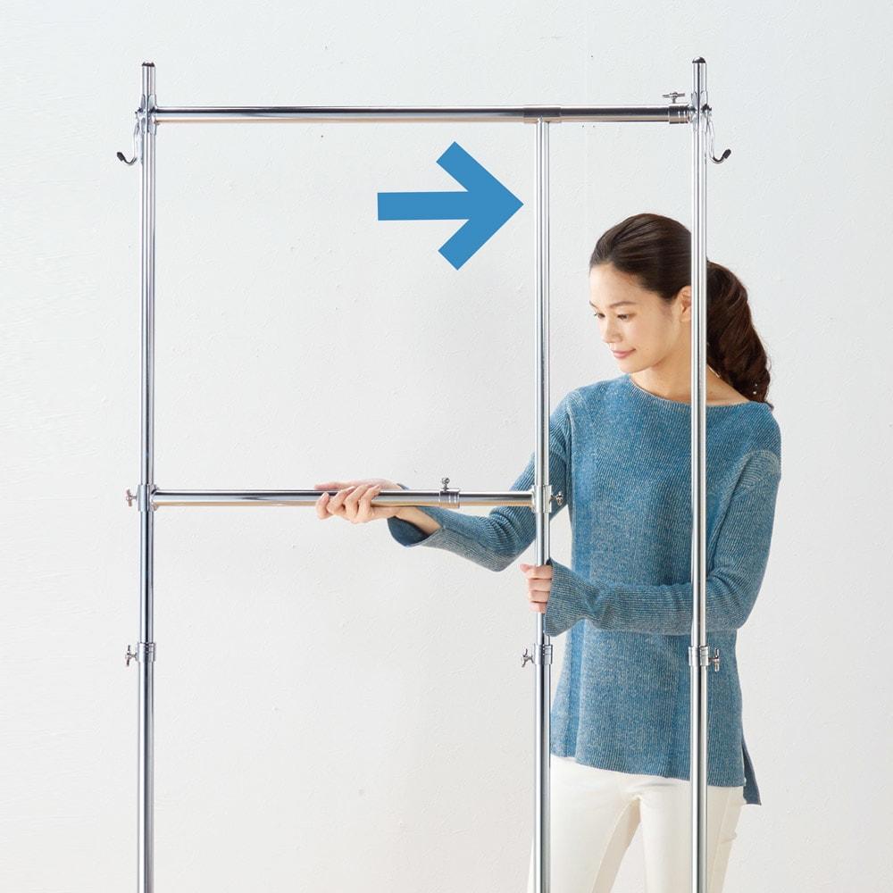 幅と高さが変えられるプロ仕様頑丈ハンガー 上下2段掛け付き ダブルタイプ・幅92~122cm 2段ハンガーの幅をワイドに。
