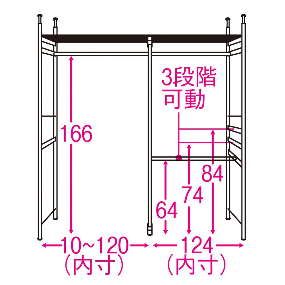 奥行30cm 光沢ブラッククローゼットハンガーラック ロータイプ・幅140~250cm 内部の構造図(単位:cm) ※3段掛け部は左右どちらにも設定可能。