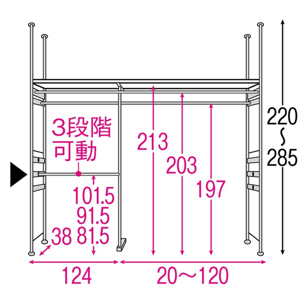 設置スペース奥行を抑えた薄型大容量頑丈ダブルハンガー ハイタイプ 幅150~250cm 内部の構造図(単位:cm) ※赤文字は内寸 黒文字は外寸(単位:cm)※▲は下段ハンガーバーです。10cm間隔で3段階調節できます。左右どちらにも設置可能です。