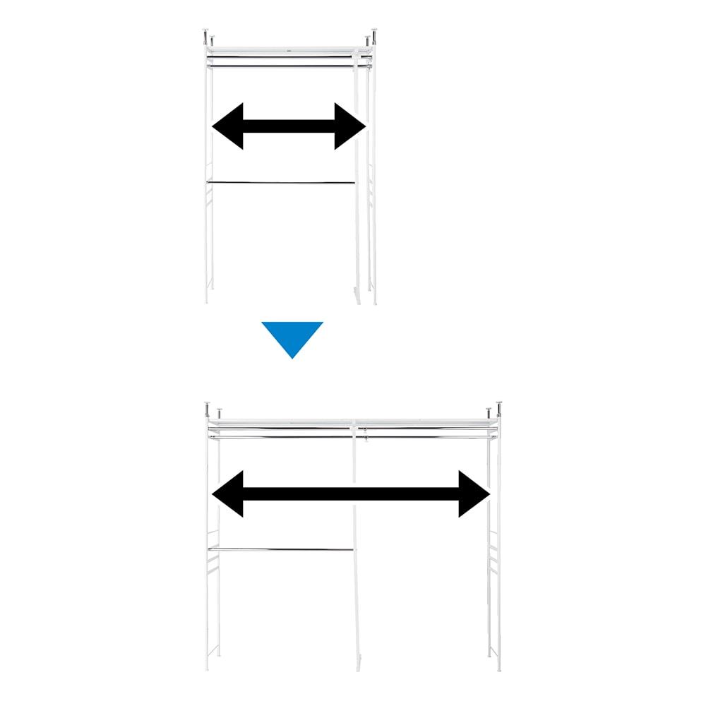 設置スペース奥行を抑えた薄型大容量頑丈ダブルハンガー ハイタイプ 幅150~250cm 幅伸縮で設置場所にぴったり! 最小幅150cm 最大幅250cm 収納量に応じてスペースをフル活用できます。