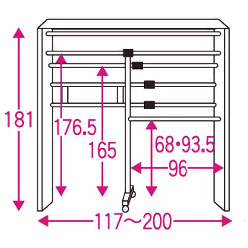 カーテン&木製サイドパネル付き 奥行68cm伸縮頑丈ハンガー 棚なしタイプ・幅117~200cm 内部の構造図 (単位:cm)