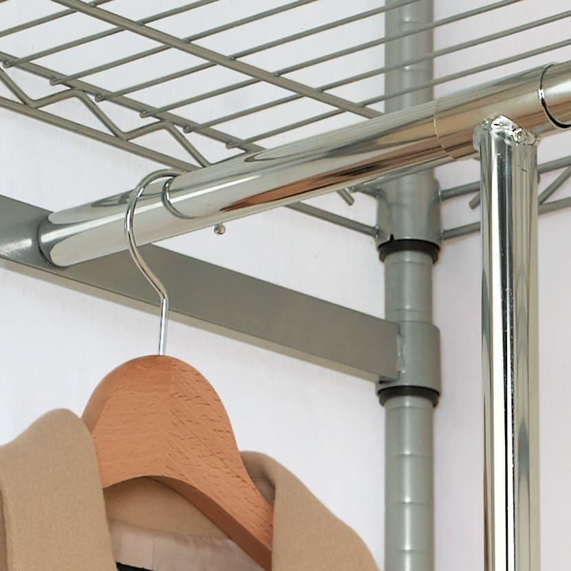 洗えるカバー付き 頑丈ハンガーラック 2段掛けハイタイプ・幅152cm ※上段ハンガーバーの取り付けは2.5cmピッチで調整できます。
