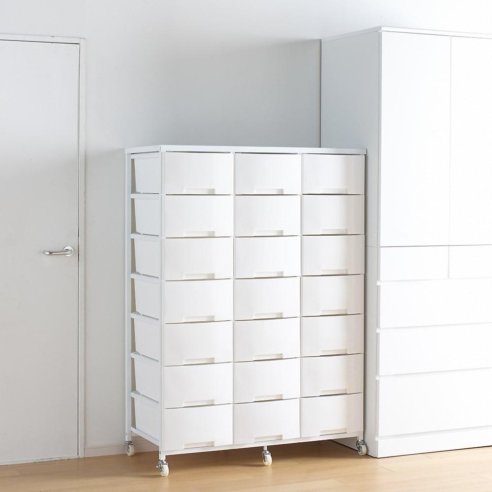 家族の衣類を一括収納 大量収納タワーチェスト 3列・7段タイプ (イ)ホワイト