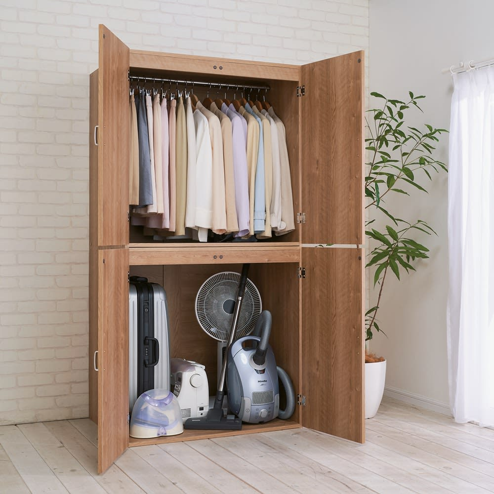 手軽に押し入れが作れる布団タンス 幅120cm 季節家電やスーツケース、衣類収納にも重宝します。