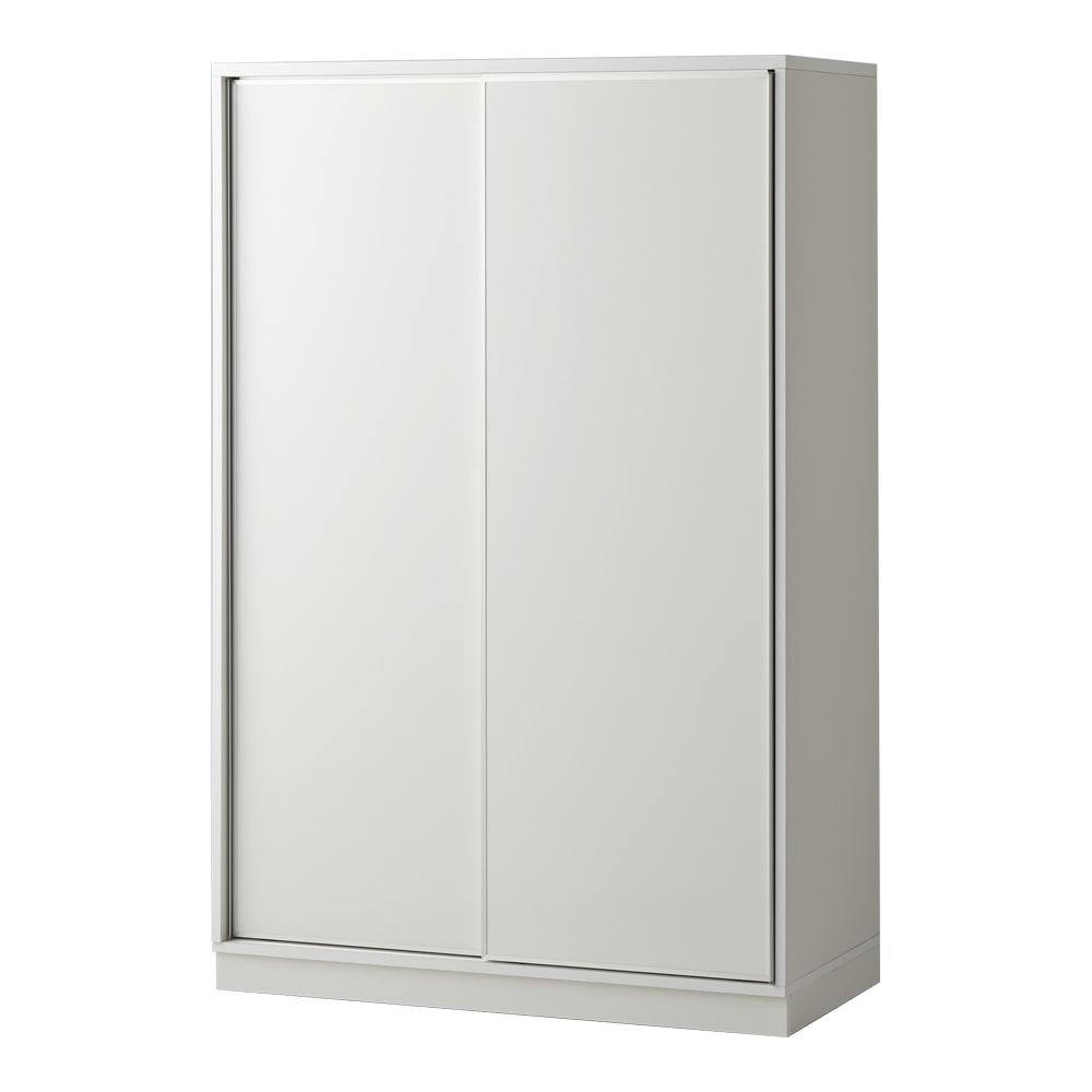【日本製】引き戸式ミラーワードローブ ハンガー棚タイプ 幅118cm (エ)前板:ホワイト・本体:ホワイト