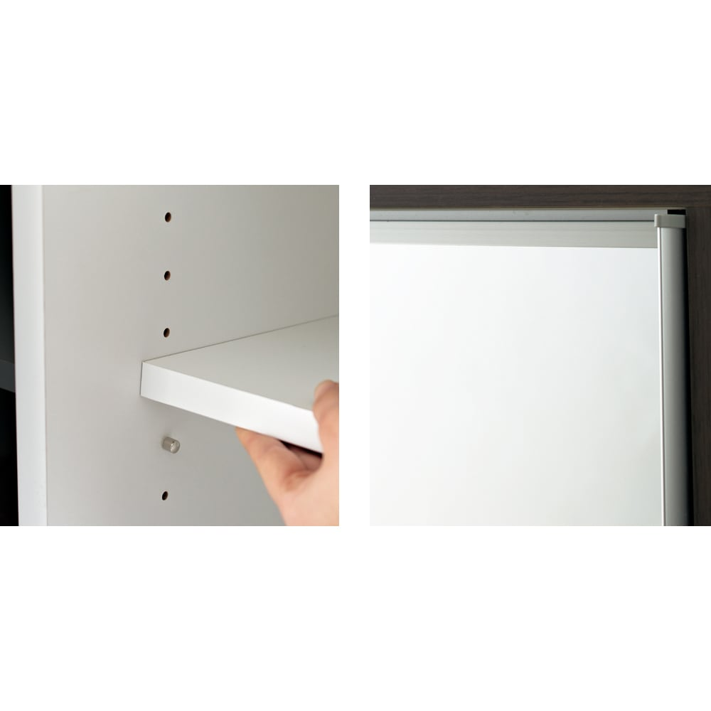【日本製】引き戸式ミラーワードローブ 棚タイプ 幅118cm 左:棚板は3cmピッチで可動。収納物にあわせて設置できます。 右:扉の枠にはアルミを使用。美しくスタイリッシュな印象をさらに高めます。