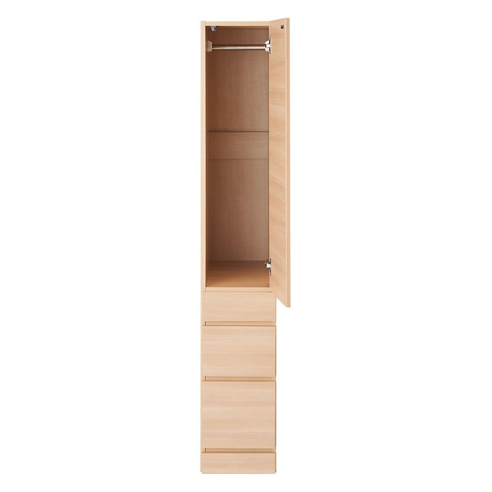 お部屋の天井構造を考慮した壁面ワードローブ ハンガー&引き出し 幅30高さ180cm(高い梁下に) 扉開け お届けする商品です。