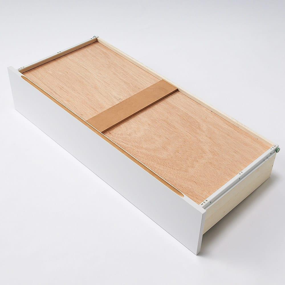 スタイリッシュな着物専用クローゼット 上盆収納&下引き出し・幅100cm 引き出し裏面に補強板で底板強度をアップ。
