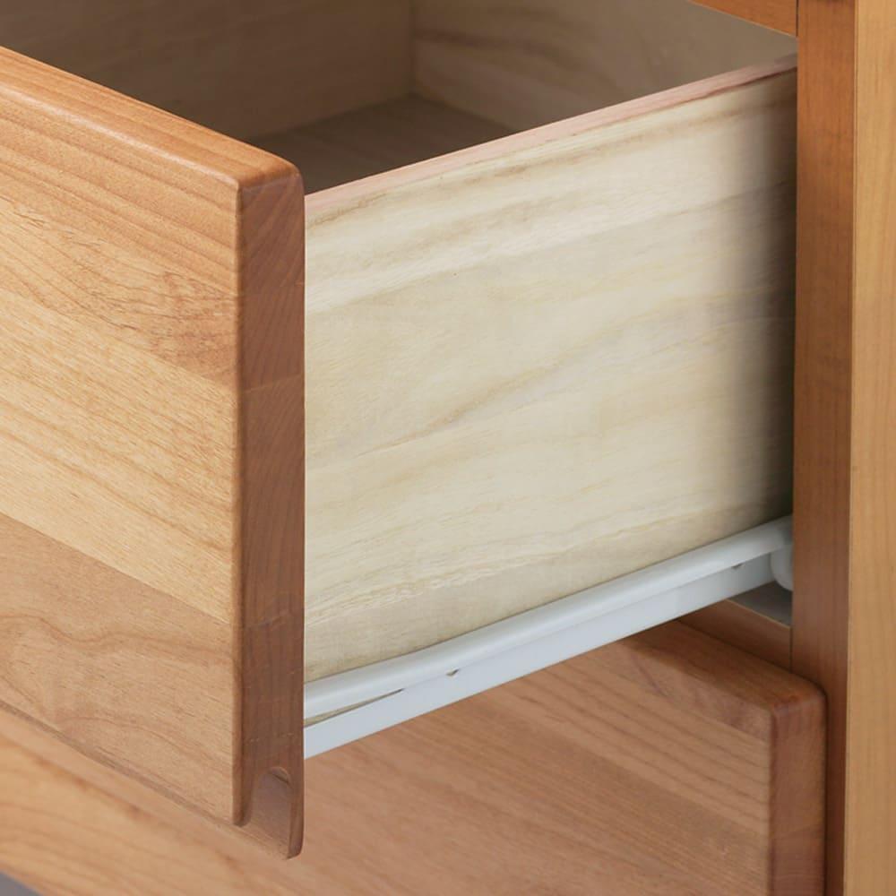 ウォルナット天然木ギャラリー収納シリーズ 幅80cmボード 引き出しは全段ストッパー付きスライドレール。