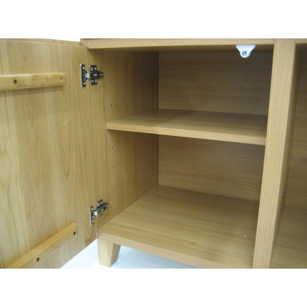 ウォルナット天然木ギャラリー収納シリーズ 幅140cmボード 棚板は6cmピッチ可動式。