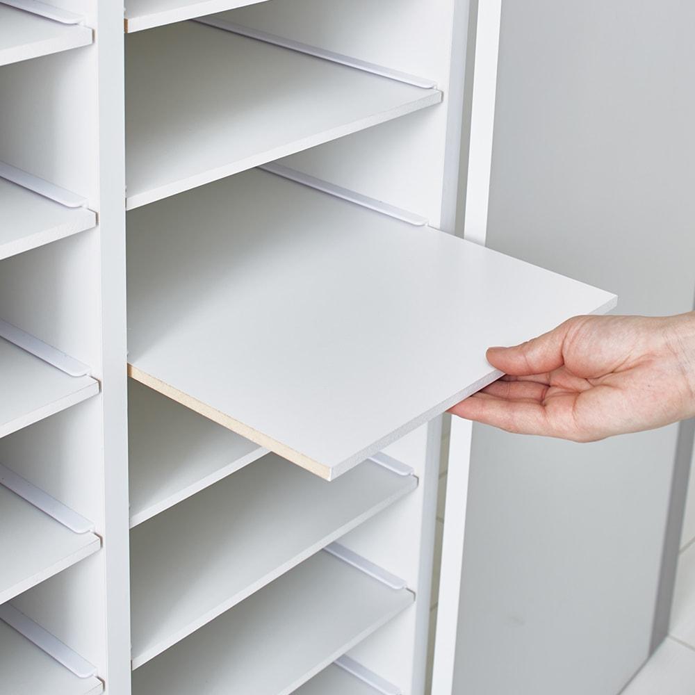【日本製】整理整頓が叶うユニットクローゼット シャツラック 幅90cm 棚板はスライドでき、取り外し可能。