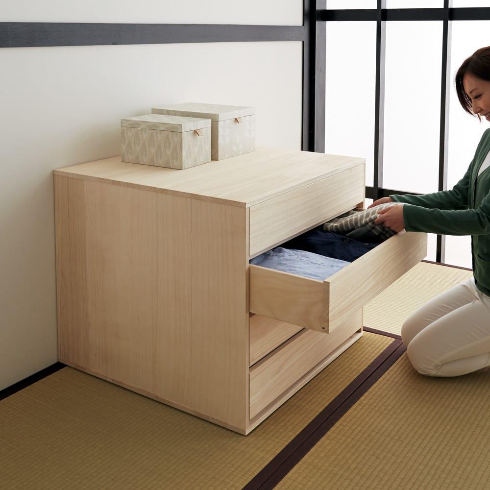 【日本製】キャスター付き総桐押し入れタンス 3段 幅75奥行44cm キャスターなしでもお使いいただけます。。※写真は奥行75cmタイプです