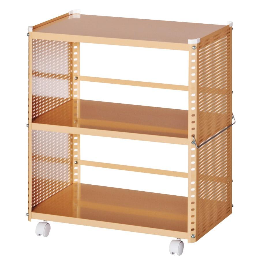 組み立て簡単 頑丈パンチングワゴン パンチングタイプ 幅35.5奥行55.5高さ64.5cm