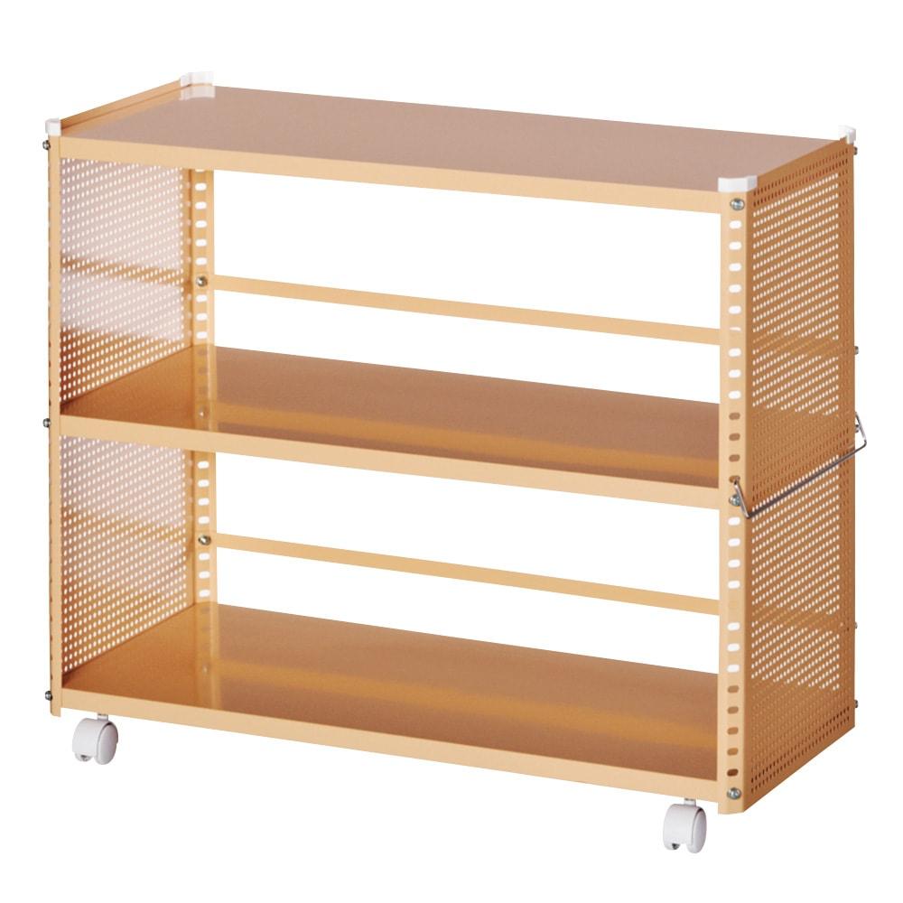 組み立て簡単 頑丈パンチングワゴン パンチングタイプ 幅35.5奥行75.5高さ64.5cm