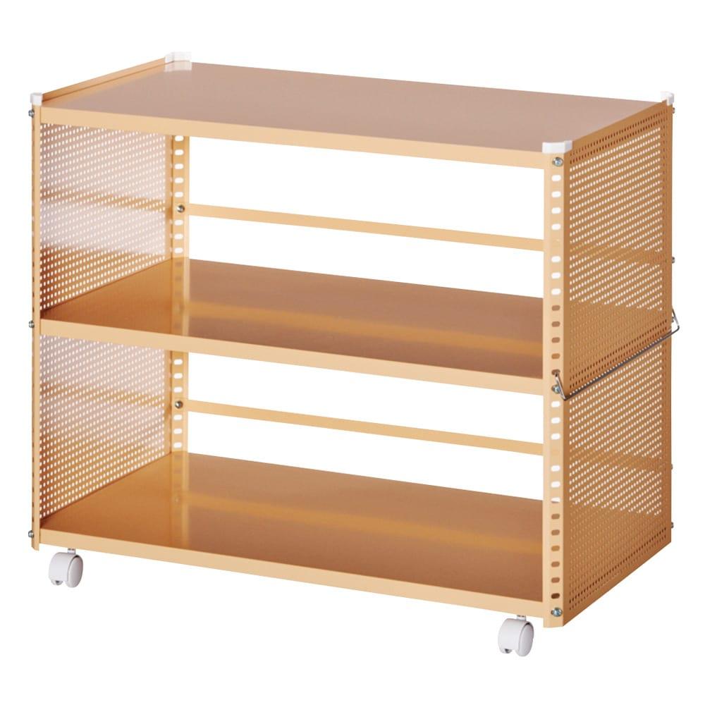 組み立て簡単 頑丈パンチングワゴン パンチングタイプ 幅43.5奥行75.5高さ64.5cm